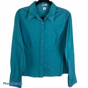 Isaac Mizrahi Teal Button Down Fitted Shirt Sz XL